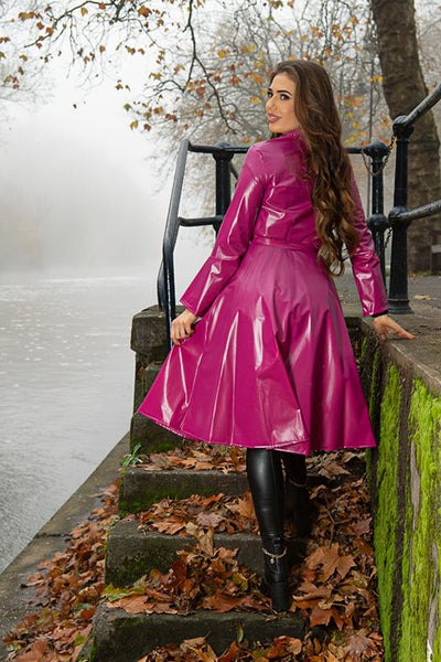 "**UK Hand Made To Order** Authentic 1950s Style ""Double Breasted & Skirted Rain Mac In Maroon Pearl"" by Elements Rainwear - RocknRomance True 1940s & 1950s Vintage Style"
