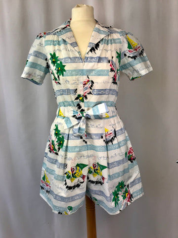 The Seamstress Of Bloomsbury Emma Play suit In Seaside Print by The Seamstress of Bloomsbury, Classic 1940s Vintage Style - RocknRomance Clothing