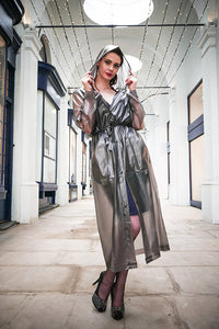 "Elements Rain Wear 1950s Style ""Classic Fashion Rain Mac"" True Vintage Style In Black Semi Transparent - RocknRomance Clothing"