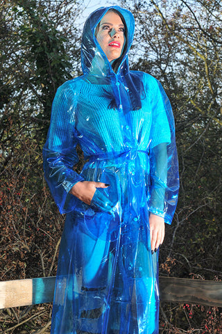 "1950s Style ""Classic Fashion Rain Mac"" True Vintage Style In Blue glass Clear - RocknRomance True 1940s & 1950s Vintage Style"