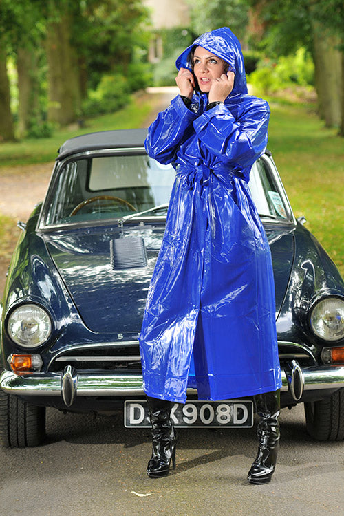 "1950s Style ""Classic Fashion Rain Mac"" True Vintage Style In Blue Shiny - RocknRomance True 1940s & 1950s Vintage Style"