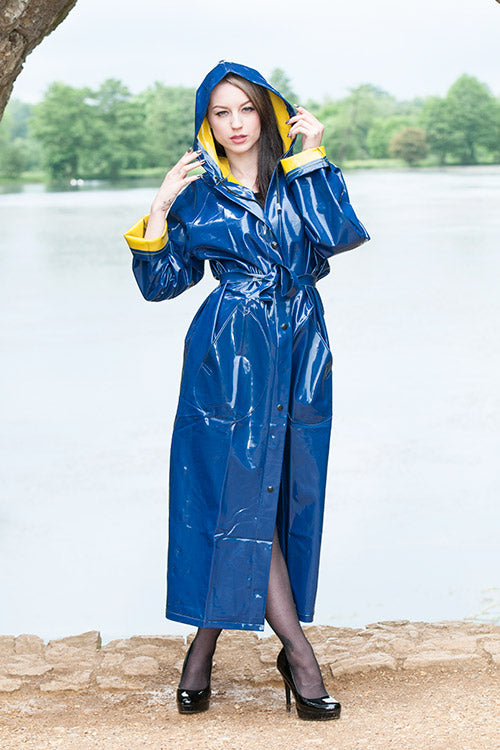 "Elements Rain Wear 1950s Style ""Classic Fashion Rain Mac"" True Vintage Style In Blue With Reverse Yellow - RocknRomance Clothing"