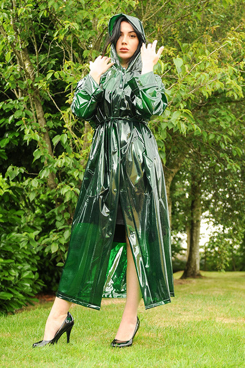 "Elements Rain Wear 1950s Style ""Classic Fashion Rain Mac"" True Vintage Style In Green Glass Clear - RocknRomance Clothing"