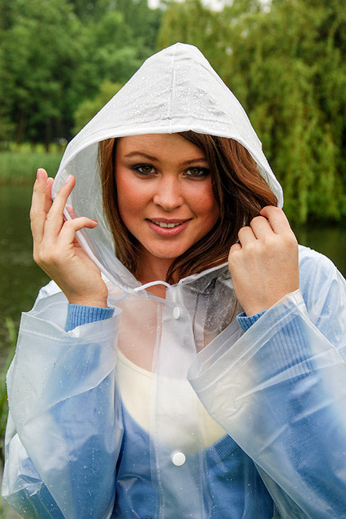"Elements Rain Wear 1950s Style ""Classic Fashion Rain Mac"" True Vintage Style In Natural Semi Transparent - RocknRomance Clothing"