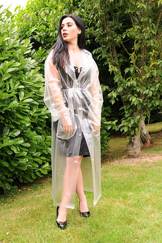 "1950s Style ""Classic Fashion Rain Mac"" True Vintage Style In Natural Semi Transparent - RocknRomance True 1940s & 1950s Vintage Style"