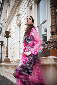"Elements Rain Wear 1950s Style ""Classic Fashion Rain Mac"" True Vintage Style In Red Glass Clear With White Dots - RocknRomance Clothing"