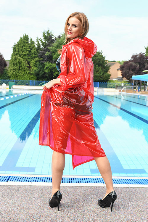 "Elements Rain Wear 1950s Style ""Classic Fashion Rain Mac"" True Vintage Style In Red Glass Clear - RocknRomance Clothing"