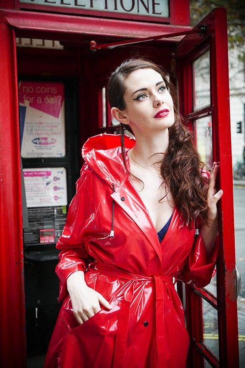 "Elements Rain Wear 1950s Style ""Classic Fashion Rain Mac"" True Vintage Style In Red Shiny - RocknRomance Clothing"