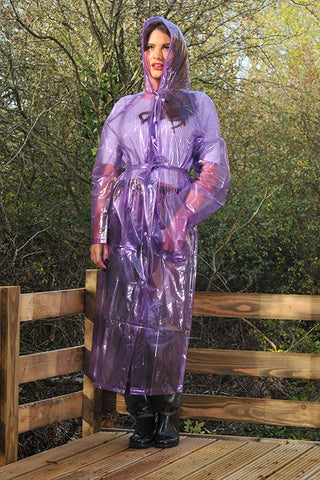 "Elements Rain Wear 1950s Style ""Classic Fashion Rain Mac"" True Vintage Style In Violet Glass Clear - RocknRomance Clothing"
