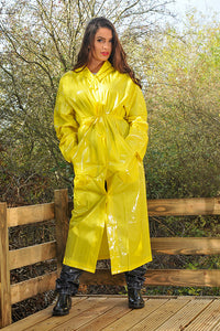 "Elements Rain Wear 1950s Style ""Classic Fashion Rain Mac"" True Vintage Style In Yellow Matt - RocknRomance Clothing"