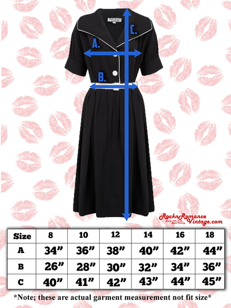 "Spec sheet Size guide ""Ritzy"" Dress in Black with Contrast White Piping by Rock n Romance, Classic 1950s Style Inspired"