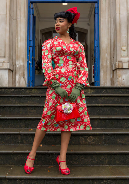 """Ava"" Dress in Atomic Satin Print, Classic 1940's Style Long Sleeve Dress - RocknRomance True 1940s & 1950s Vintage Style"