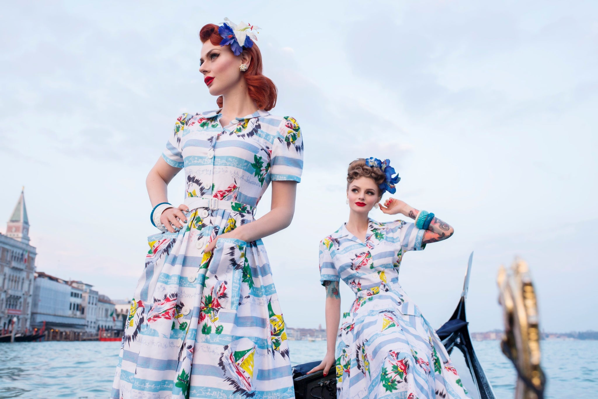 """Daphne"" Dress in Seaside Cotton by The Seamstress of Bloomsbury, Authentic 1940s Vintage Inspired Style - RocknRomance True 1940s & 1950s Vintage Style"