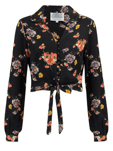 """Clarice"" Long Sleeve Blouse in Mayflower Print by The Seamstress Of Bloomsbury, Classic 1940s Vintage Inspired Style"