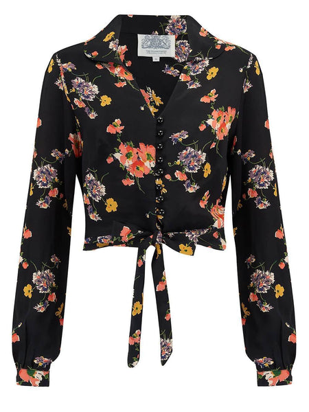 "The Seamstress Of Bloomsbury ""Clarice"" Long Sleeve Blouse in Mayflower Print, Classic 1940s Vintage Inspired Style - RocknRomance Clothing"