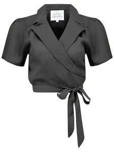 """Greta"" Wrap Blouse in Black made by The Seamstress Of Bloomsbury, Classic 1940s Vintage Inspired Style"