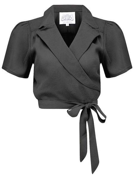 "The Seamstress Of Bloomsbury ""Greta"" Wrap Blouse in Black made by The Seamstress Of Bloomsbury, Classic 1940s Vintage Inspired Style - RocknRomance Clothing"