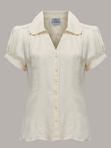 "The Seamstress Of Bloomsbury ""Judy"" Blouse in Cream, Classic & Authentic 1940s Vintage Inspired Style - RocknRomance Clothing"