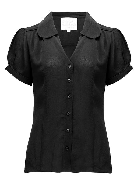 "The Seamstress Of Bloomsbury ""Judy"" Blouse in Black, Classic & Authentic Vintage 1940s Style - RocknRomance Clothing"