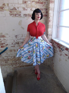 "The Seamstress Of Bloomsbury The Vintage Inspired ""Thelma"" Skirt in Seaside Print by The Seamstress of Bloomsbury - RocknRomance Clothing"