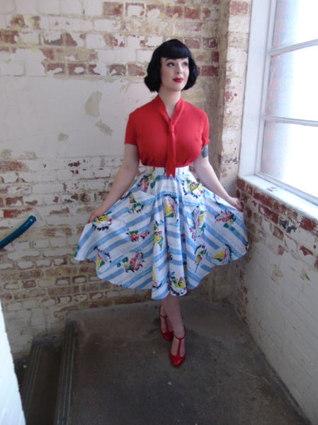"The Vintage Inspired ""Thelma"" Skirt in Seaside Print by The Seamstress of Bloomsbury"