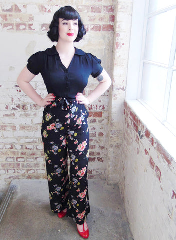 "The Seamstress Of Bloomsbury ""Winnie"" Wide Leg Loose Fit Trousers in Mayflower Print, Classic 1940s Vintage Style - RocknRomance Clothing"