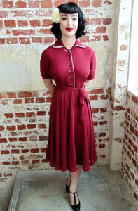 "Mae"" Tea Dress in Wine with Cream Contrasts by The Seamstress of Bloomsbury, Classic 1940s Vintage Style Inspired"