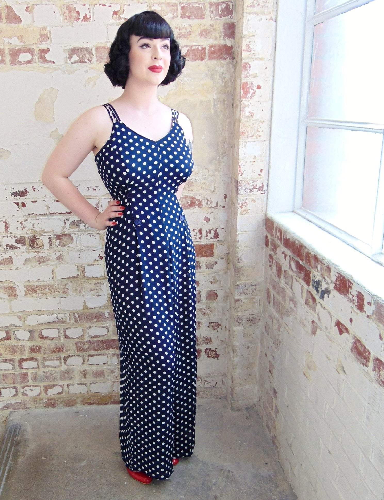 "The Seamstress Of Bloomsbury ""Charlotte"" Jump Suit in Navy with Polka Dot Print, Classic 1940s Vintage Inspired"