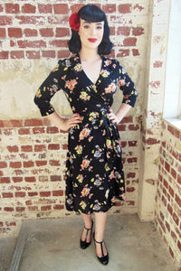 """Loretta"" Wrap Tea Dress in Mayflower Print  by The Seamstress of Bloomsbury, Classic 1940s Vintage Style Inspired"
