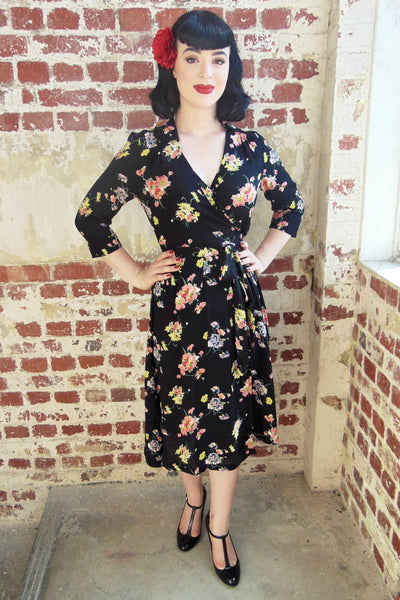"The Seamstress Of Bloomsbury ""Loretta"" Wrap Tea Dress in Mayflower Print, Classic 1940s Vintage Style - RocknRomance Clothing"