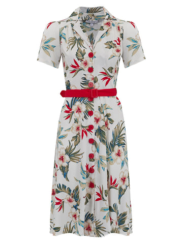 "Rock n Romance ""Charlene"" Shirtwaister Dress in Hawaiian Print by Rock n Romance, Perfect 1950s Style - RocknRomance Clothing"