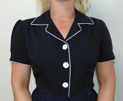 """Grace"" Blouse in Black by Rock n Romance, Authentic 1950s Vintage Style"