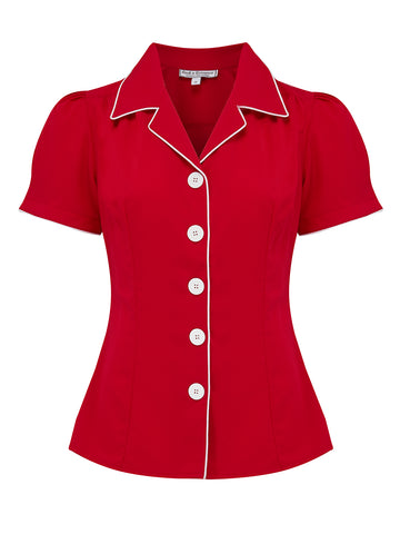 "Rock n Romance **Sample Sale** ""Grace Blouse"" in Red by Rock n Romance, Authentic 1950s Vintage Style - RocknRomance Clothing"