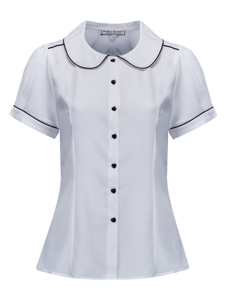 """Pippa Blouse"" in White by Rock n Romance, Classic 1950s Vintage Inspired Style"