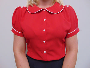"Rock n Romance **Sample Sale** ""Pippa Blouse"" in Red by Rock n Romance, Classic 1950s Vintage Inspired Style - RocknRomance Clothing"