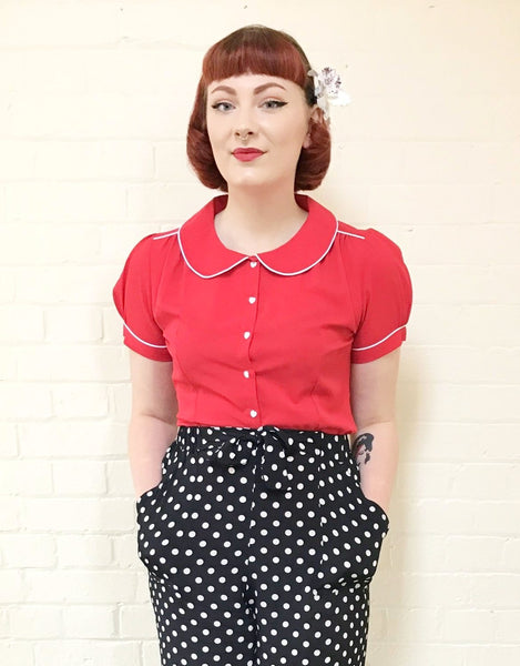 """Pippa Blouse"" in Red by Rock n Romance, Classic 1950s Vintage Inspired Style"