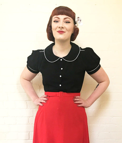 """Pippa Blouse"" in Black by Rock n Romance, Classic 1950s Vintage Inspired Style"