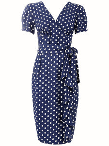 "The Seamstress Of Bloomsbury ""Lilian"" Dress in Navy with Polka Dot Spot, Classic & Authentic 1940s Vintage Style - RocknRomance Clothing"