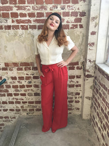 "The Seamstress Of Bloomsbury ""Winnie"" Wide Leg Loose Fit Trousers in 40's Red, Classic 1940s Vintage Inspired Style - RocknRomance Clothing"