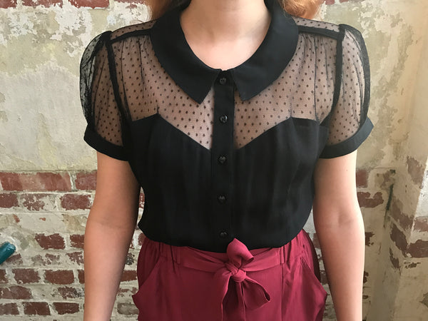 "The Seamstress Of Bloomsbury ""Florance"" Evening Blouse in Black with Net, Authentic 1940s Vintage Style - RocknRomance Clothing"