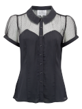 """Florance"" Evening Blouse in Black with Net, Authentic 1940s Vintage Style - RocknRomance True 1940s & 1950s Vintage Style"