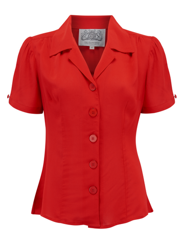 "The Seamstress Of Bloomsbury ""Grace"" Blouse in Red, Authentic & Classic 1940s Vintage Style - RocknRomance Clothing"