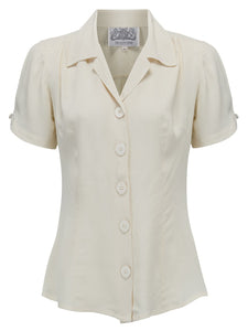 """Grace"" Blouse in Cream by The Seamstress Of Bloomsbury, Authentic 1940s Vintage Style"