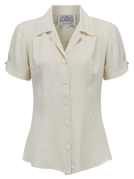 """Grace"" Blouse in Cream by The Seamstress Of Bloomsbury, Classic 1940s Vintage Inspired Style"