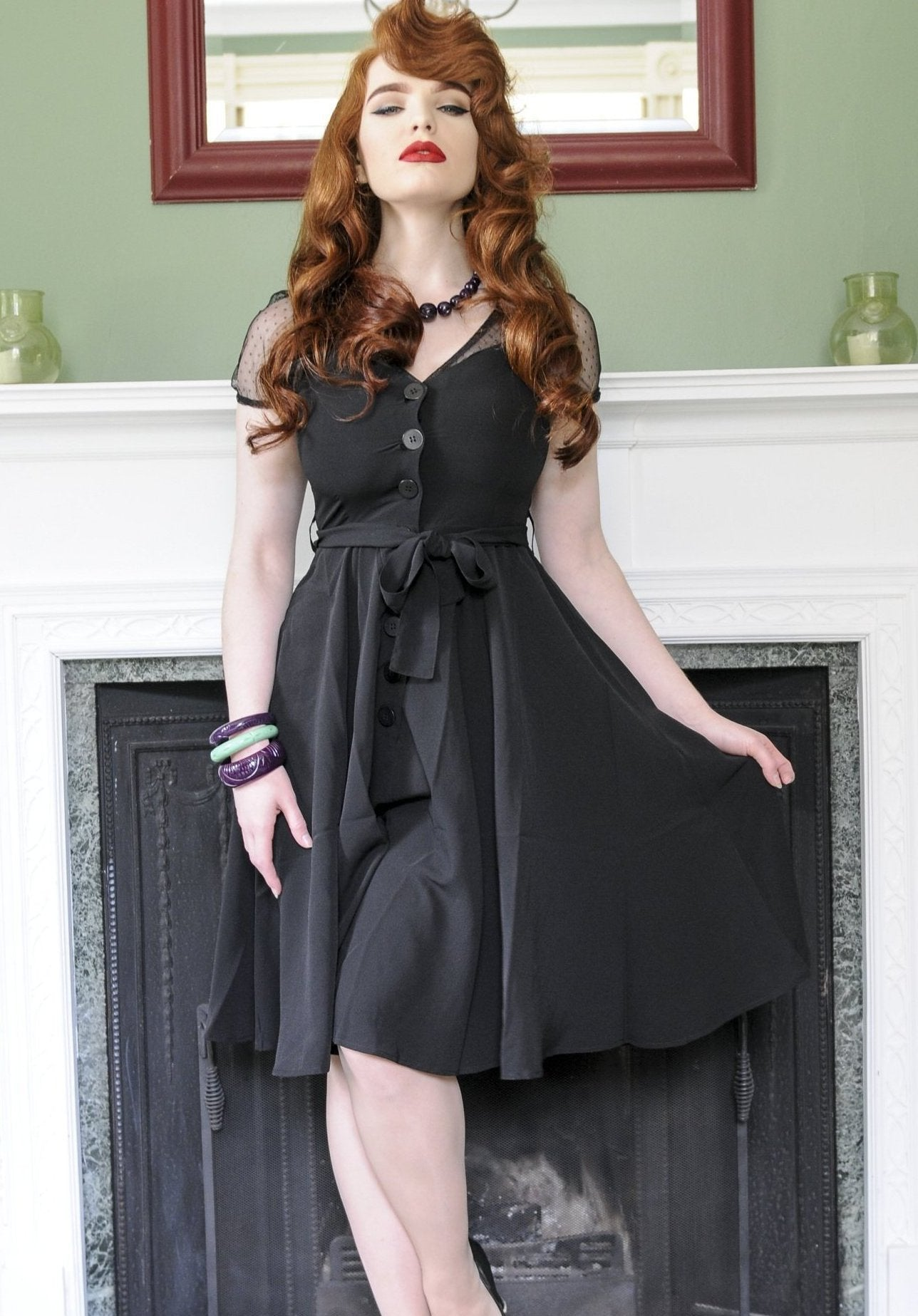 """Betty"" Swing Dress in Black by RocknRomance, Classic 1950s Vintage Inspired Style"