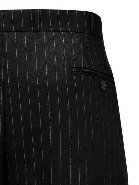 Black Pinstripe Oxford Bags Mens 1940s Inspired Trousers.
