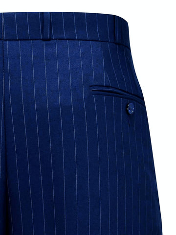 Navy Blue with Pinstripe Oxford Bags, Mens 1940s Inspired Trousers