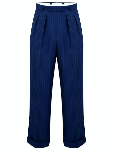 The Seamstress Of Bloomsbury Navy Blue with Pinstripe Oxford Bags, Mens 1940s Inspired Trousers - RocknRomance Clothing