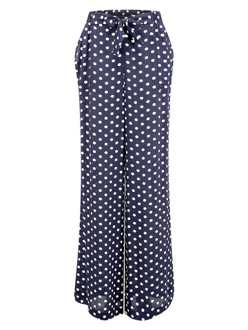 "The Seamstress Of Bloomsbury ""Winnie"" Wide Leg Loose Fit Trousers in Navy Polka Dot, Classic 1940s Vintage Style - RocknRomance Clothing"