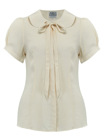 "The Seamstress Of Bloomsbury ""Tie-Blouse"" in Cream, An Authentic & Classic 1940s Vintage Style Inspired Blouse - RocknRomance Clothing"